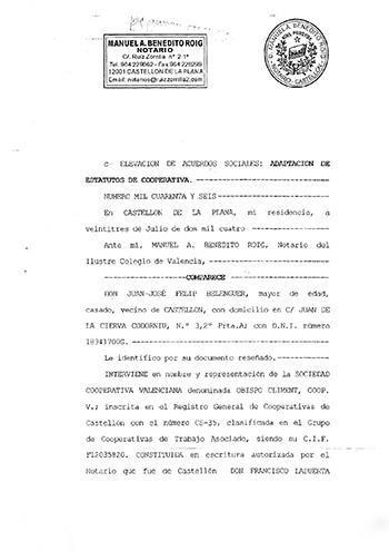Estatuts Socials d'Obispo Climent Coop. V.